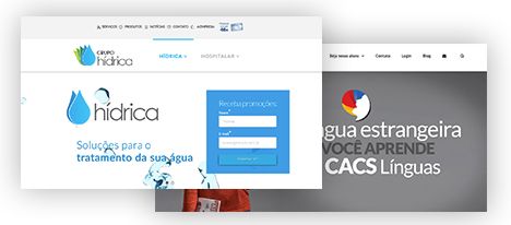 Websites do Grupo Hídrica e CACS Línguas